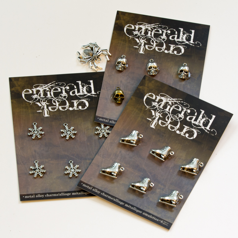 Metal charms from Emerald Creek/perfect finishing touch for scrapbooking and card projects