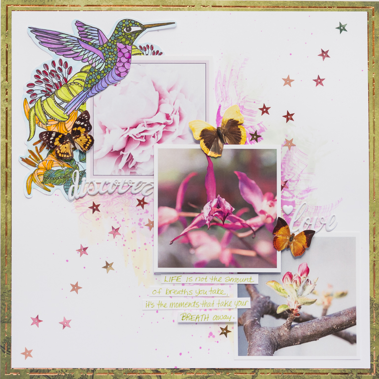 Scrapbooking layout using Tomboy Dual Brush Pens and adhesive / layout by Kim Gowdy