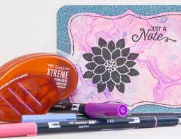 Card using Tomboy Dual Brush Pens to achieve a dreamy water colour effect / Tomboy Adhesives / Stampin Up stamps