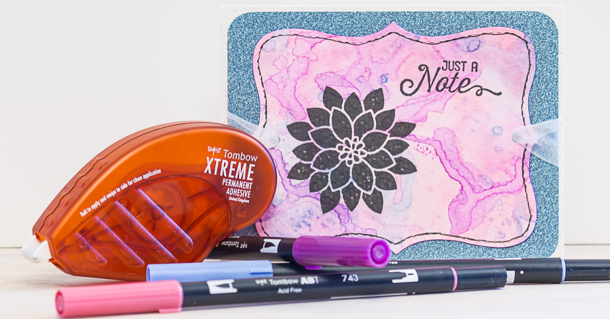 Card using Tombow Dual Brush Pens to achieve a dreamy water colour effect / Tomboy Adhesives / Stampin Up stamps