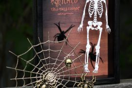 Halloween diorama with scrapbooking supplies/embossing laser cut diets/Emerald Creek and Southern Ridge Trading Company