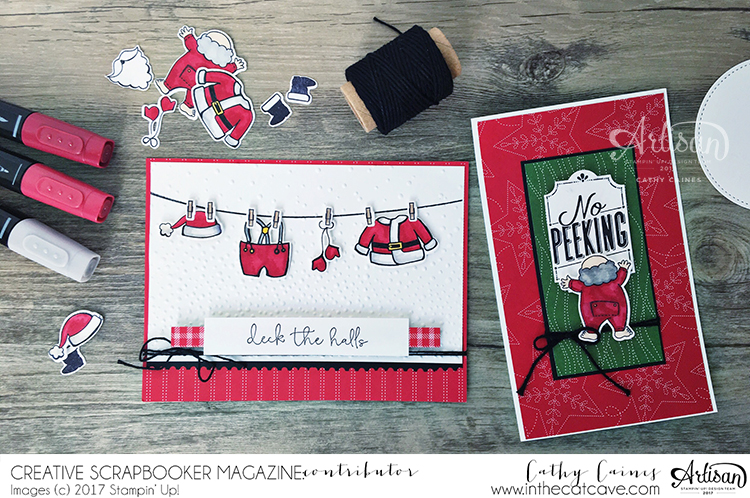 Christmas Cards Designed by Cathy Caines featuring Stampin' Up Stampin' Blends | Creative Scrapbooker Magazine #cards #stamping #christmas