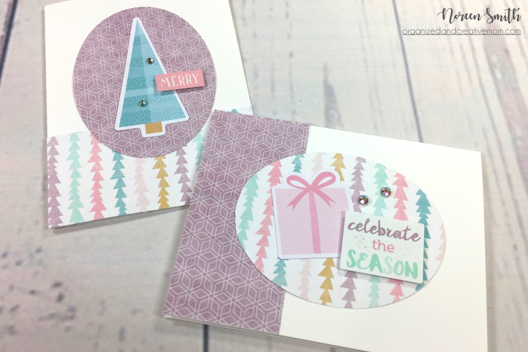 Christmas Cards featuring Sugarplum Collection by Creative Memories | Designed by Noreen Smith | Creative Scrapbooker Magazine #christmas #cards