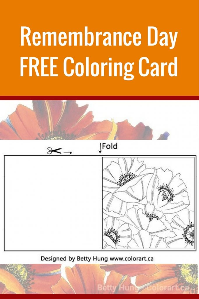 Remembrance Day FREE coloring card | Featuring Stabilo Pen 68 | Designed by Betty Hung | Creative Scrapbooker Magazine #remembrance #adult #coloring