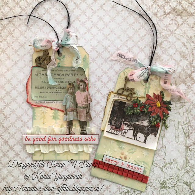 Christmas Tags featuring Tim Holtz Distress Crayons for Ranger | Designed by Karla Yungwirth | Creative Scrapbooker Magazine #christmas #cards