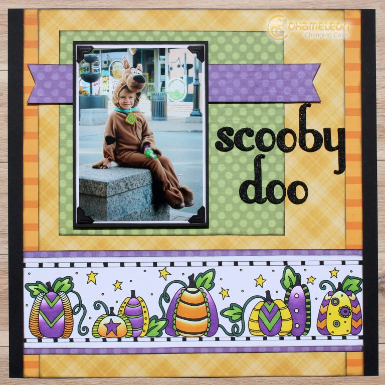 Halloween Scrapbook Layout | Doodle and Color | Designed by Tracy McLennon | Featuring Chameleon Color Tone Pens | Creative Scrapbooker Magazine #scrapbooking #adultcoloring
