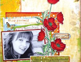 Scrapbook layout featuring Spectrum Noir Markers | Designed by Christy Riopel | Creative Scrapbooker Magazine #scrapbooking #rememberingchristy