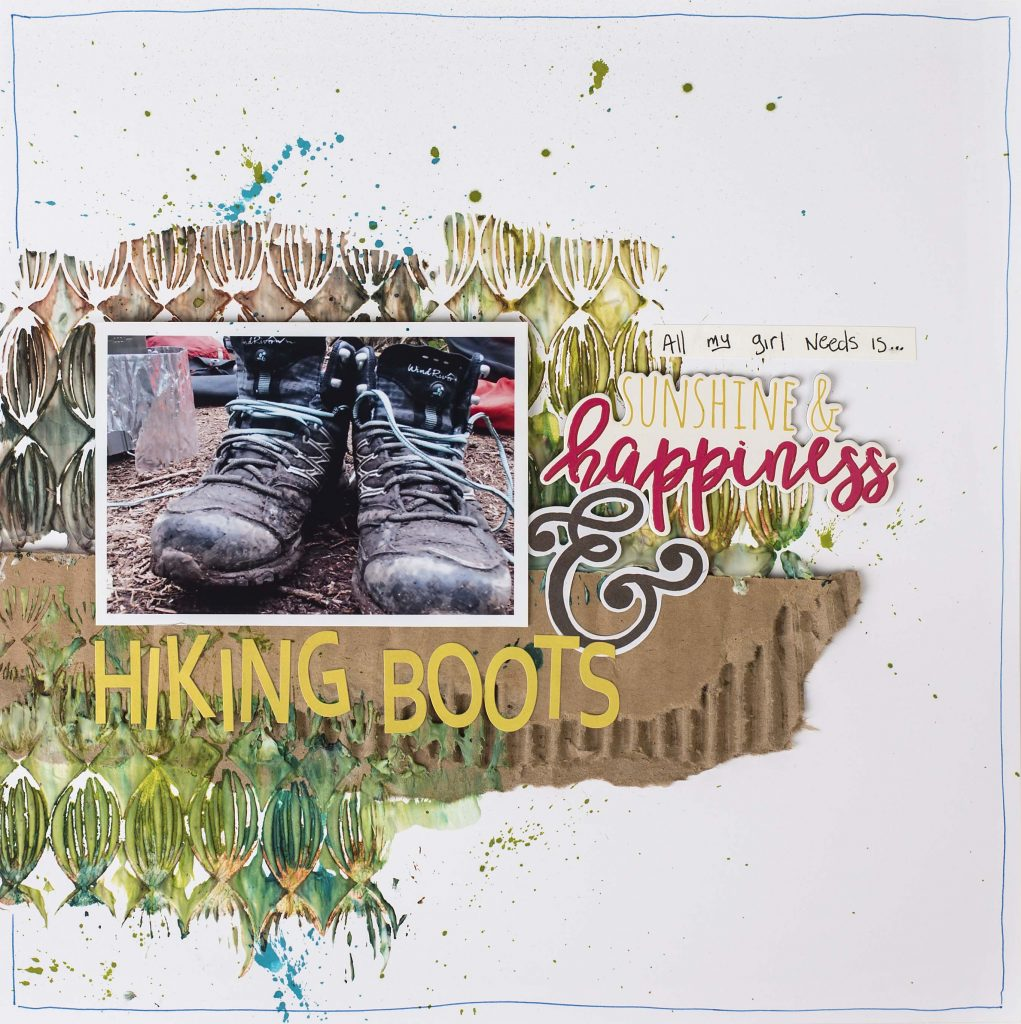 Scrapbook Layout featuring Ranger Texture Paste and Distress Spray Inks | Designed by Christy Riopel | Creative Scrapbooker Magazine #scrapbooking #rememberingchristy