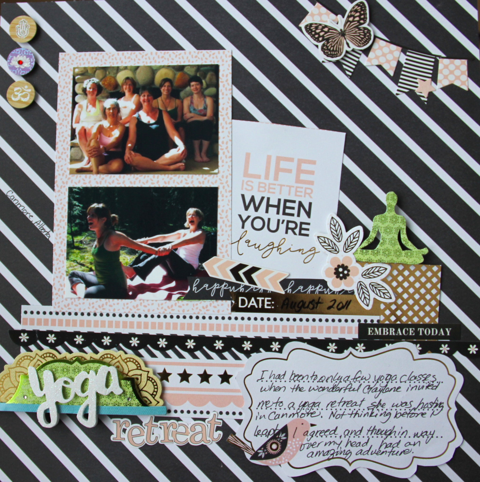 Scrapbook Layout Featuring Paper House Productions Be Happy Collection | Designed by Jayme Loge | Creative Scrapbooker Magazine #scrapbooking #paperhouseproductions