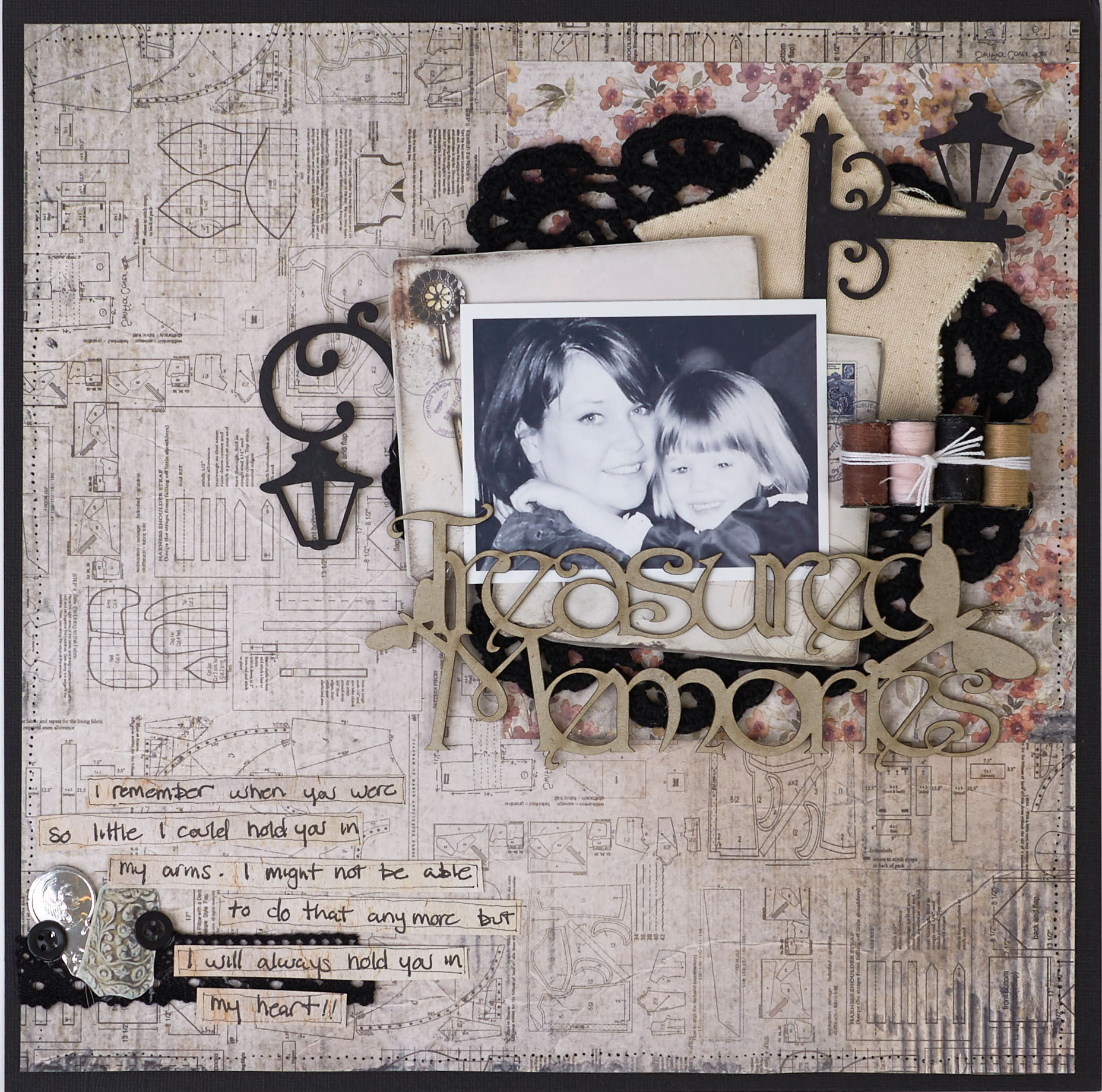 Scrapbook Layout Featuring Sewing | Designed by Christy Riopel | Creative Scrapbooker Magazine #scrapbooking #rememberingchristy