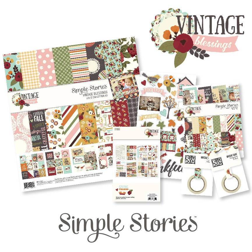Simple Stories Vintage Blessings Collection of paper crafting products.