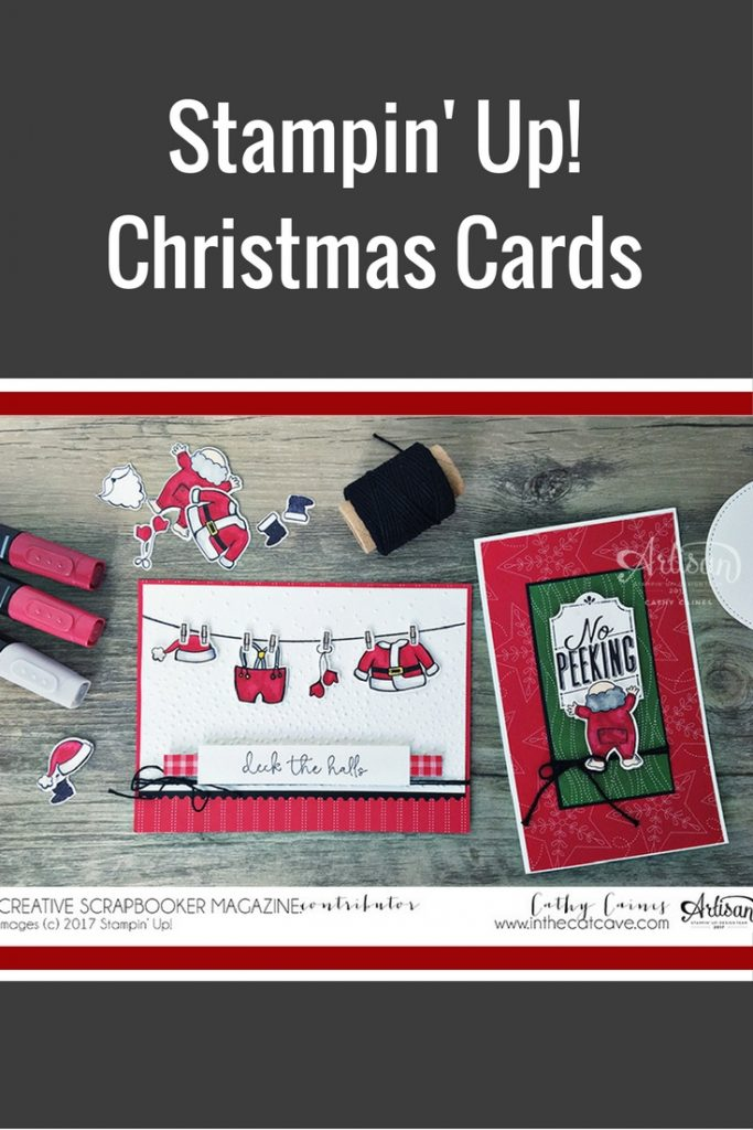 Cards Designed by Cathy Caines | Featuring Stampin' Up! Stampin' Blends | Christmas Cards | Creative Scrapbooker Magazine #cards #christmas