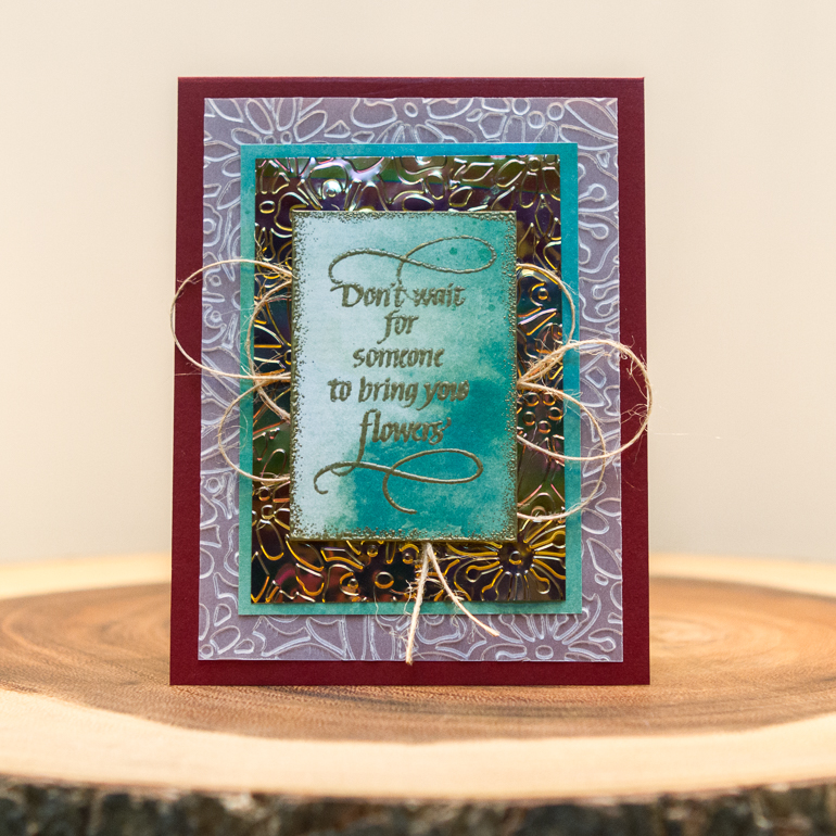 Cam Spotlight on Elizabeth Craft Designs / cardmaking using embossed layers / stamping and gold embossing