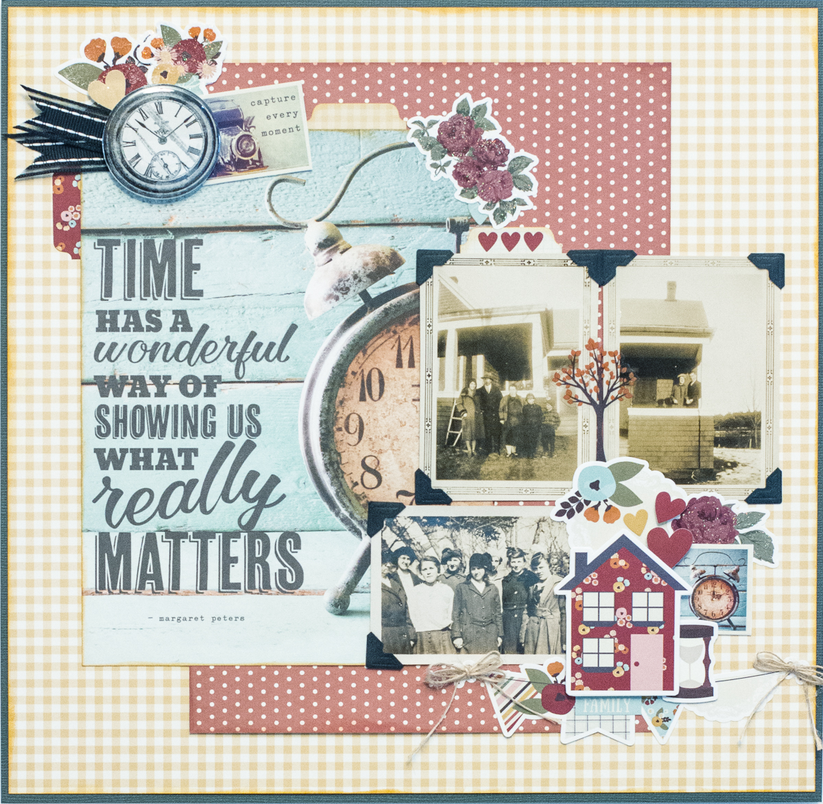 Scrapbooking layout using Simple Stories Vintage Blessings collection / October Sketchy Challenge / Scrapbooking with sketches