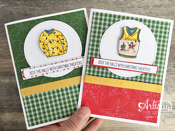 Christmas Cards featuring Stampin' Up! Christmas Sweaters stamp set | Designed by Cathy Caines | Creative Scrapbooker Magazine #scrapbooking #cardmaking #christmas