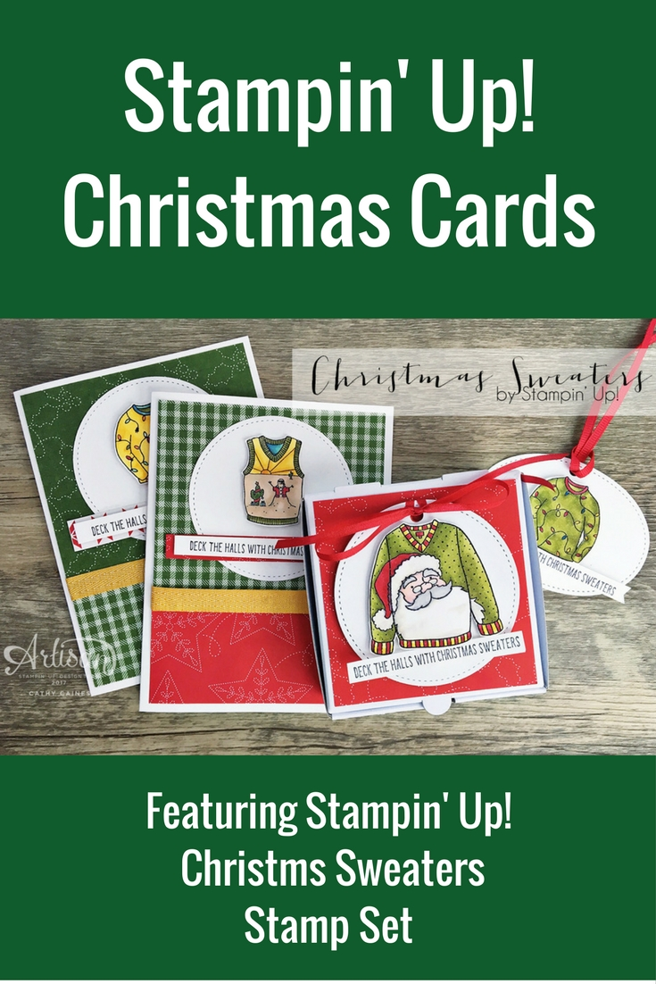 Christmas Cards Featuring Stampin' Up! Christmas Sweaters Stamp Set | Designed by Cathy Caines | Creative Scrapbooker Magazine  #christmas #stampinup #cardmaking #stamping