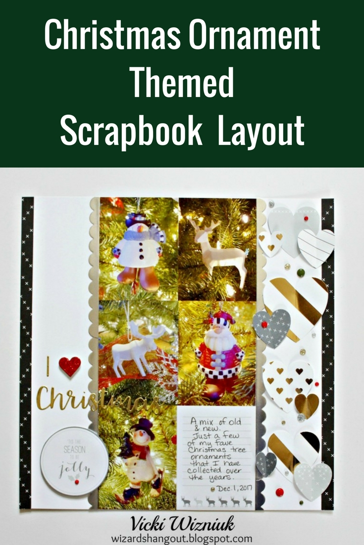 Christmas Ornament Themed Scrapbooker Layout Featuring Close To My Heart | Designed by Vicki Wizniuk | Creative Scrapbooker Magazine #scrapbooking #christmas #12X12layout