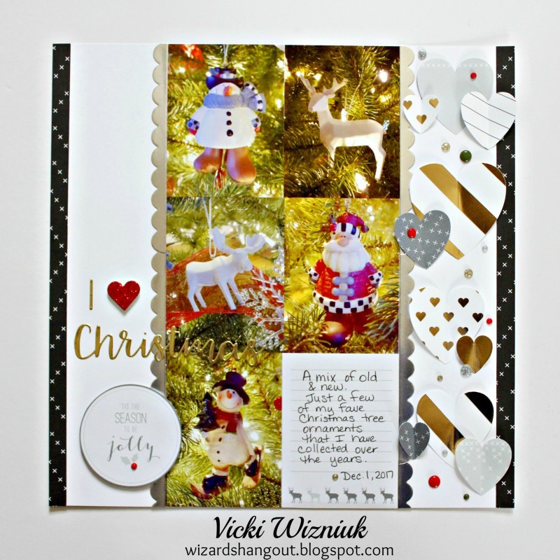 Christmas Ornament themed Scrapbook Layout featuring Close To My Heart | Designed by Vicki Wizniuk | Creative Scrapbooker Magazine #scrapbooking #12X12layout #christmas