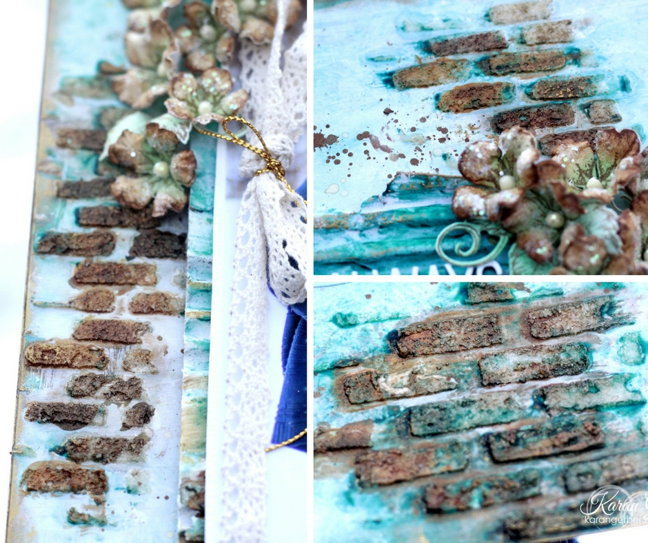 Brick Wall Inspired background | Designed by Karan Gerber | Creative Scrapbooker Magazine #scrapbooking #mixed Media