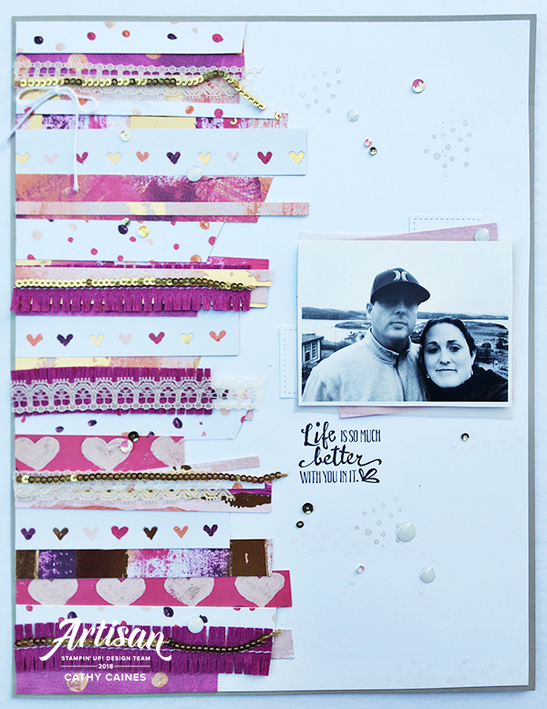 Scrapbook Layout featuring Stampin' Up! Painted With Love Collection | Designed by Cathy Caines | Creative Scrapbooker Magazine #scrapbooking #8.5x11layout #stampinup