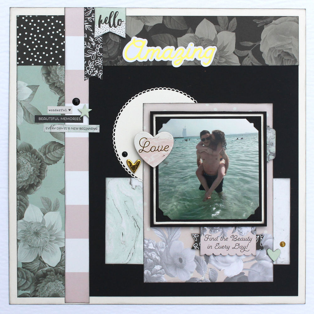 Scrapbook Layout featuring the Beautiful Collection by Simple Stories | Designed by Tracy McLennon | Creative Scrapbooker Magazine #scrapbooking #12X12layouts