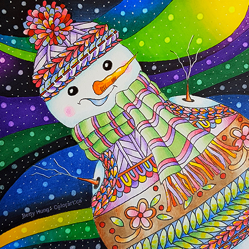 Winter Fun FREE January Coloring Card | Designed by Betty Hung | Creative Scrapbooker Magazine | Featuring Chameleon Color Tone pens