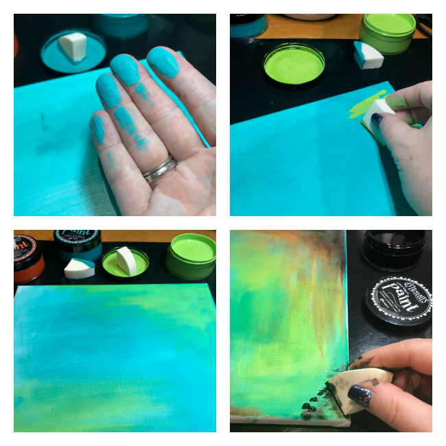 Step by Step tutorial to create a canvas featuring Dylusions acrylic paints designed by Nicole Wright | Creative Scrapbooker Magazine