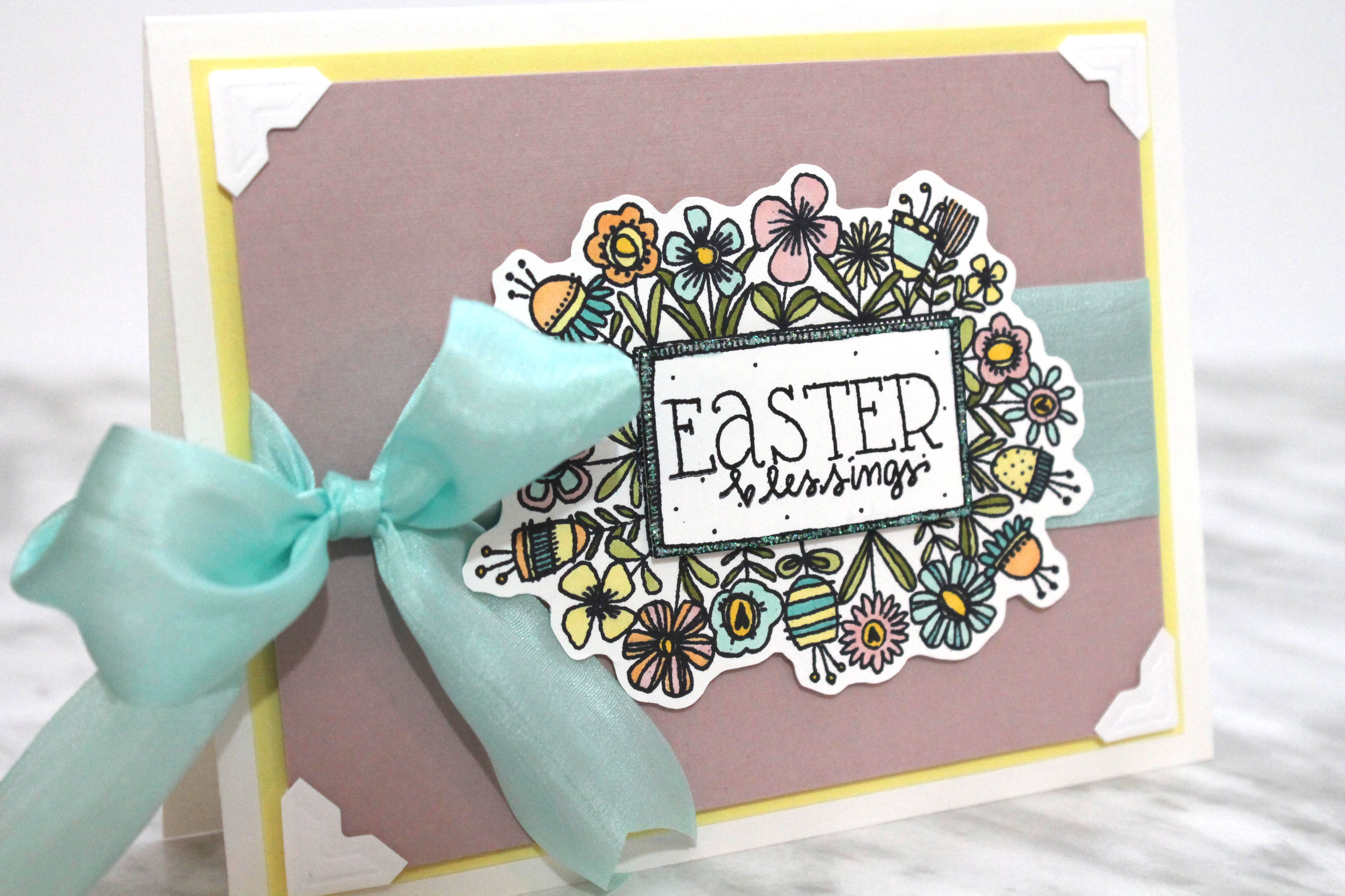 Easter Blessing card designed by Tracy McLennon | Featuring Chameleon Pens, Impression Obsession stamps and Scrapbook Adhesives by 3L | Creative Scrapbooker Magazine