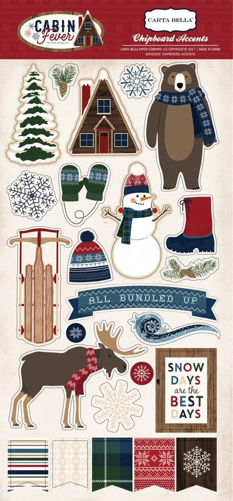 Carta Bella / Cabin Fever collection / Chipboard accents
