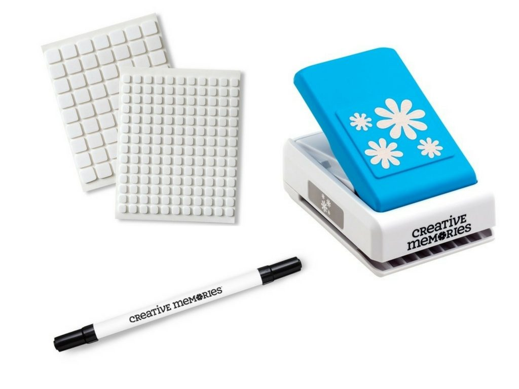 Creative Memories Foam Squares, Journaling pen and Daisy punch