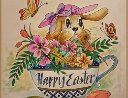 Easter card featuring Kelly Creates pens   Designed by Betty Hung   Creative Scrapbooker Magazine