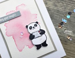 Birthday card featuring Party Pandas stamp collection by Stampin' Up!   Designed by Cathy Caines   Creative Scrapbooker Magazine