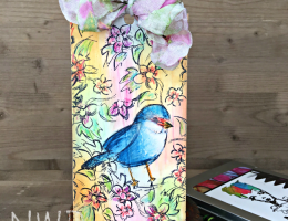 Tag designed by Nicole Wright featuring Dina Wakley Scribble Sticks for Ranger   Creative Scrapbooker Magazine