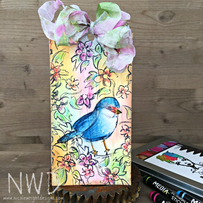 Tag designed by Nicole Wright featuring Dina Wakley Scribble Sticks for Ranger | Creative Scrapbooker Magazine