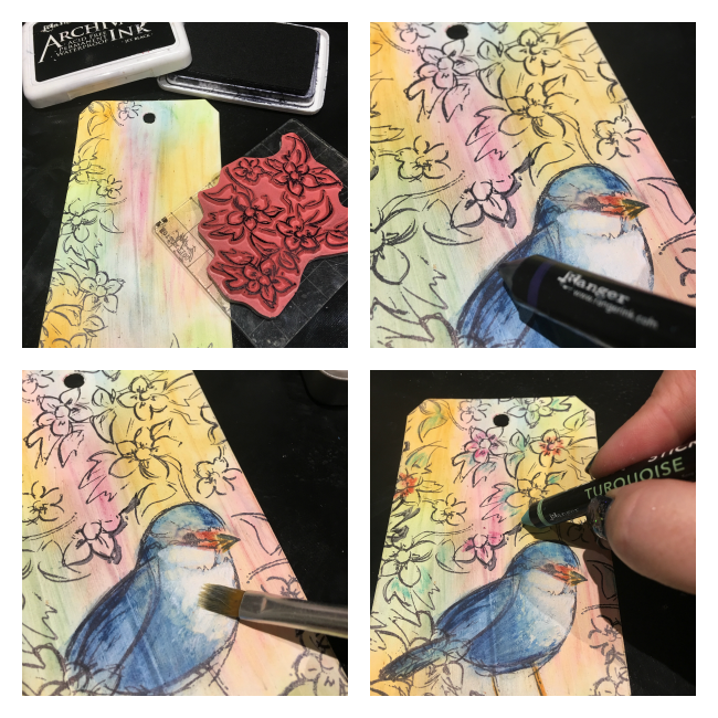 Tag featuring Dina Wakley Scribble Sticks for Ranger | Creative Scrapbooker Magazine