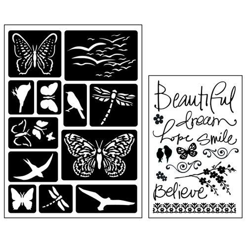 Art-C Clear Stamps and Stencils Butterflies and Birds | Creative Scrapbooker Magazine