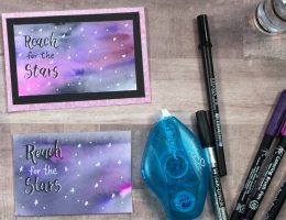 Watercolor Galaxy Technique Featuring Sakura Designed by Kelly Klapstein | Creative Scrapbooker Magazine