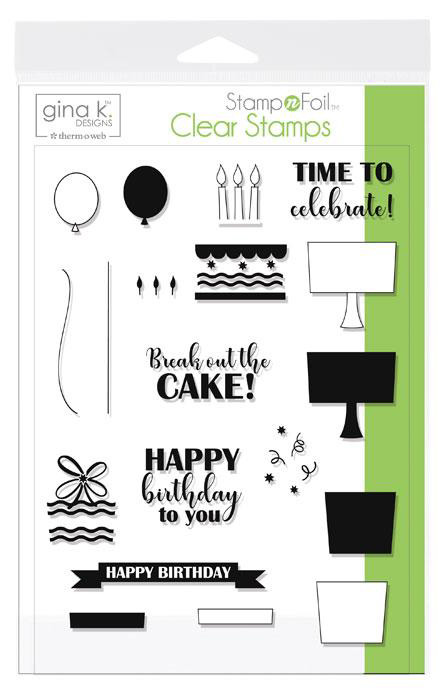 Gina K. Designs Stamp n Foil Clear birthday stamps | Creative Scrapbooker Magazine