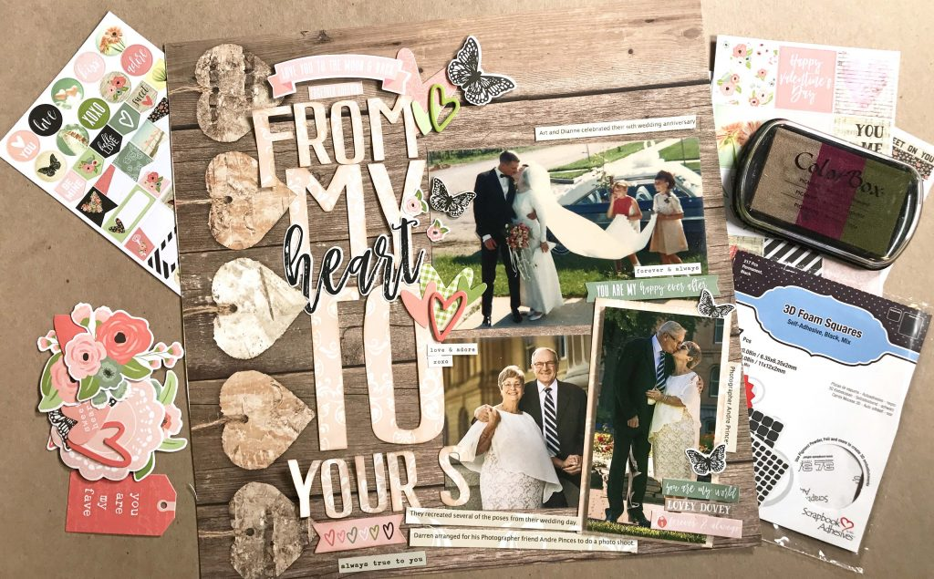 Layout Designed by Kerry Engel featuring the Simple Stories Romance collection