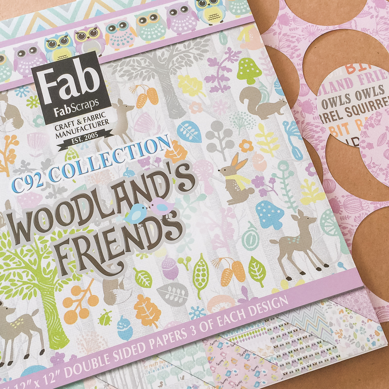 Fabscraps Woodland's Friends collection/ flower making / scrapbooking