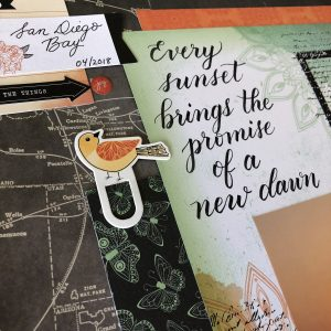 Learn how to hand letter a scrapbook layout title using Kelly Creates pens and American Crafts papers by Vicki Boutin