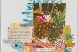 Scrapbooking Hawaii themed layouts / Scrapbooking with Creative Memories Sun-Kissed collection / Using stencils on your scrapbooking layout / Layout by Kim Gowdy