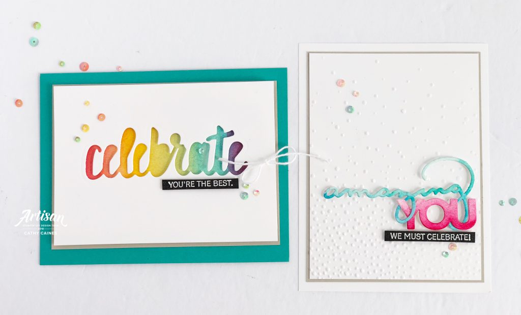 Cards designed featuring Celebrate You Thinlits and We Must Celebrate stamp set from Stampin' Up! | Designed by Cathy Caines | Creative Scrapbooker Magazine