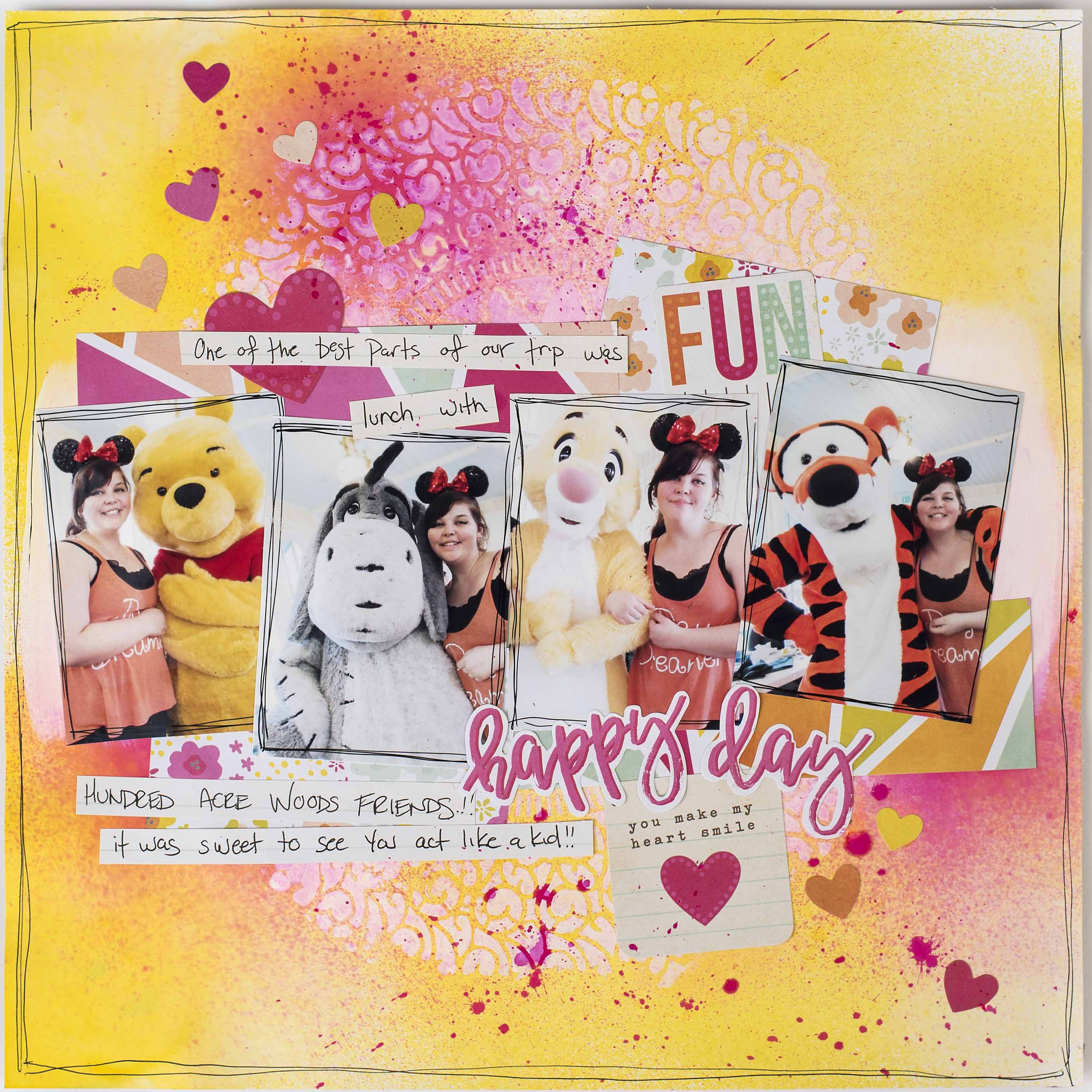 Scrapbook layout designed by Christy Riopel featuring a resist technique. | Creative Scrapbooker Magazine