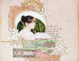 Scrapbook layout featuring a cameo cutting technique | Designed by Christy Riopel | Creative Scrapbooker Magazine