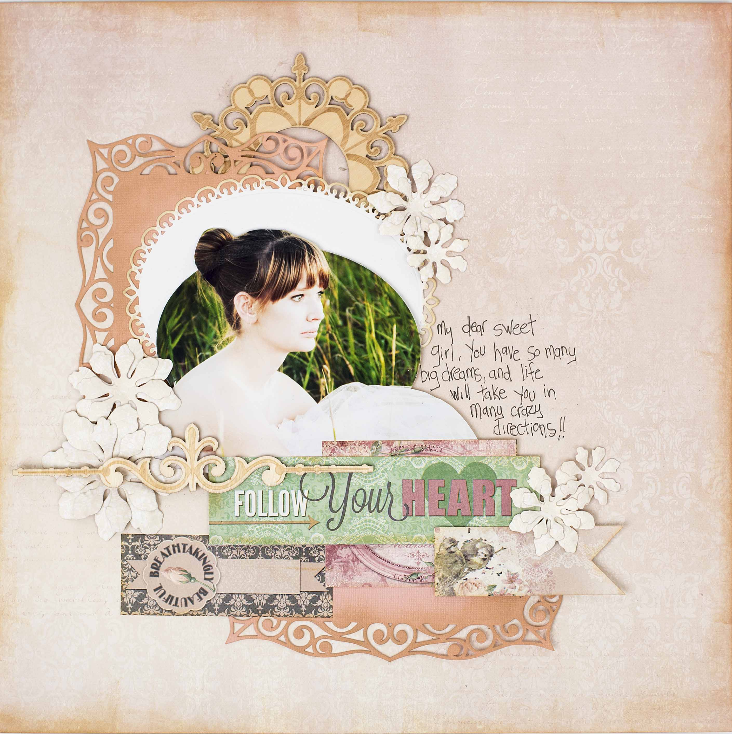 Scrapbook layout featuring a cameo cutting technique   Designed by Christy Riopel   Creative Scrapbooker Magazine