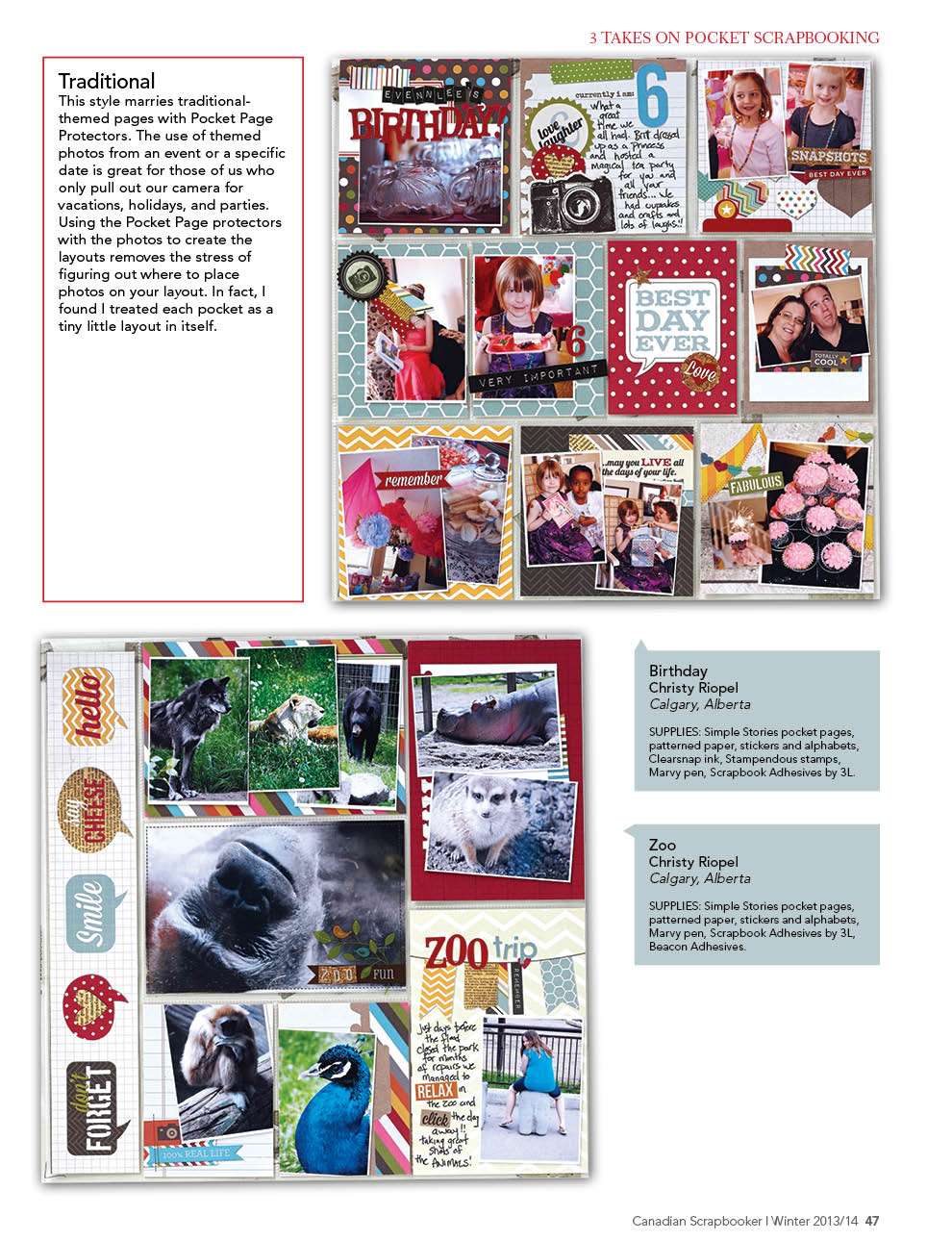 Pocket Scrapbooking Layouts designed by Christy Riopel