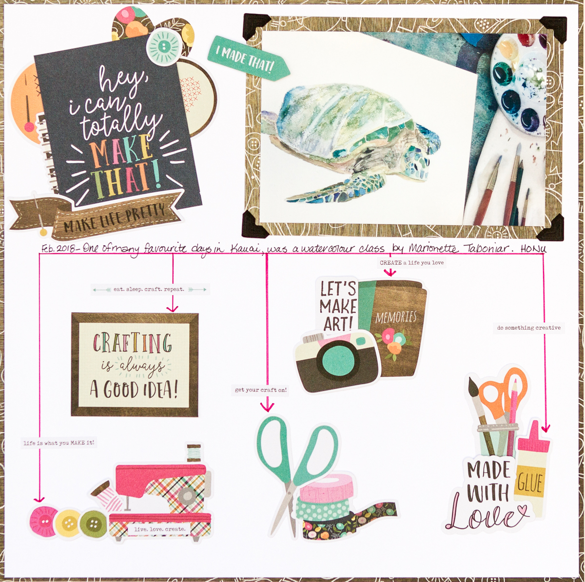 Simple Stories Crafty Girl Collection and Creative Scrapbooker Magazine's Sketch / March 2018 Sketchy Challenge