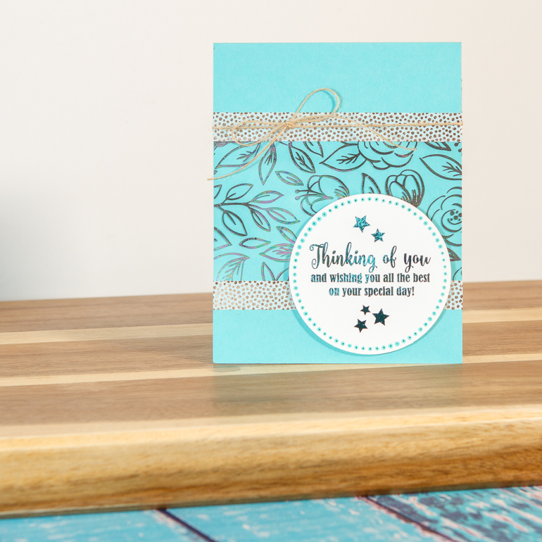 Simple foiling card / Thinking of You / cardmaking with Thermoweb and Gina K