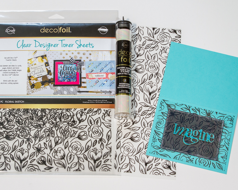 Simple foil layers / cardmaking with Thermoweb and Gina K / Imagine card by Kim Gowdy
